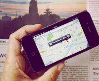 iPhone with open map app