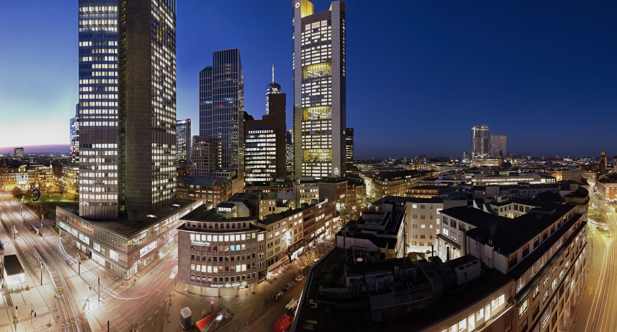 Skycrapers of Frankfurt am Main at night