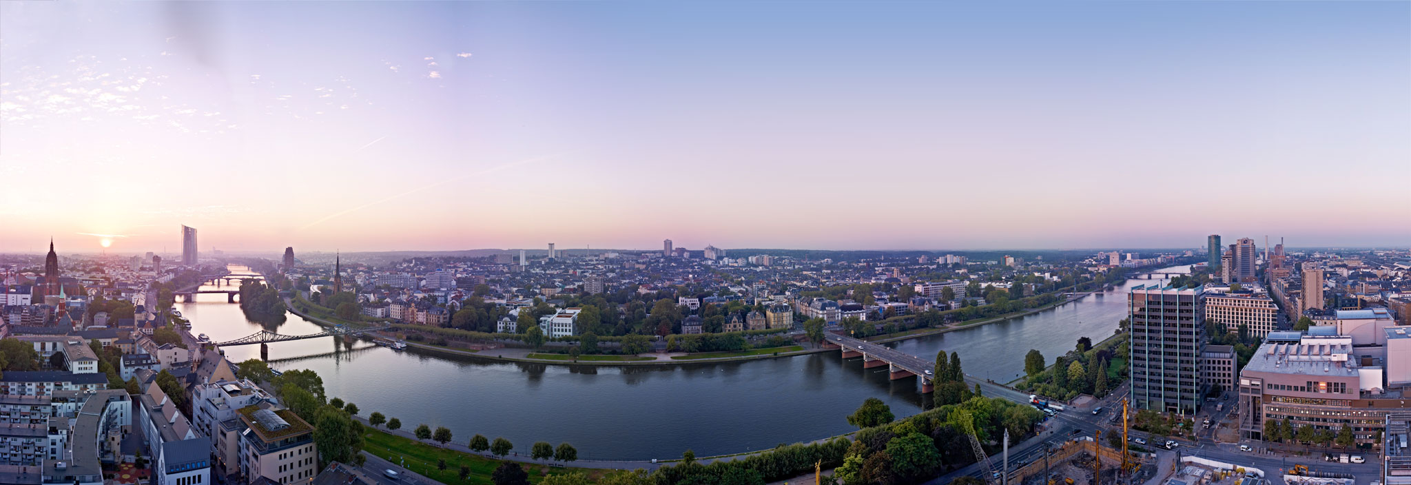 Panorama of the Main river and Sachsenhausen in Frankfurt am Main