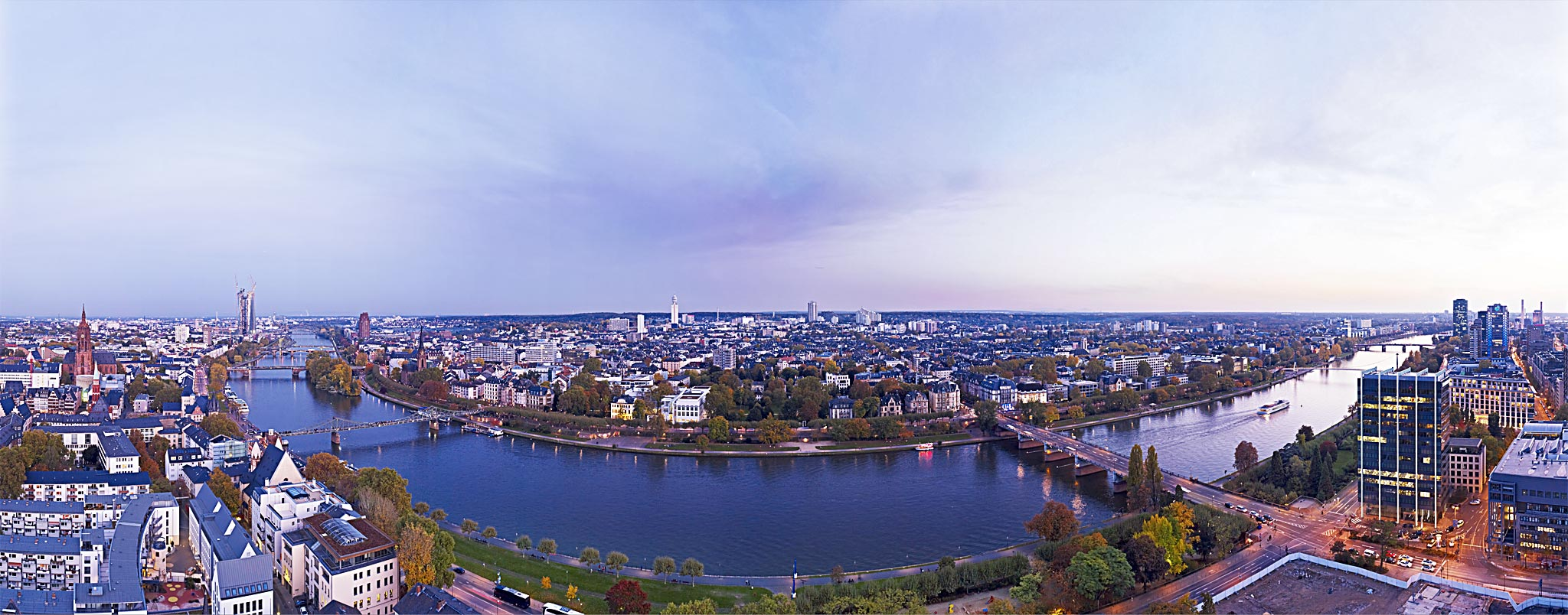 Panorama of Sachsenhausen in Frankfurt am Main in the evening